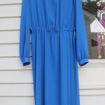Long Blue Dress, Maxi, Union Made Pleated Sheer Dress