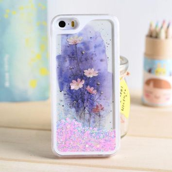 LMFEJ6 Lotus Dynamic Liquid Pink Glitter Sand Quicksand Star Bling Clear iPhone 5/5S Phone Case