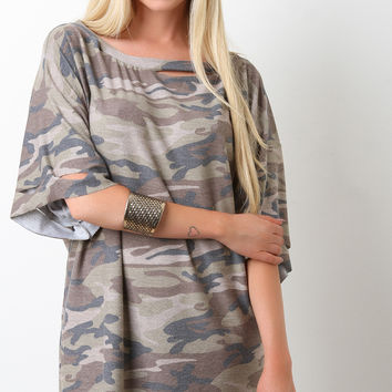 Ripped Terry Camoflage Oversized Tee Dress