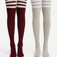 Striped Over The Knee Socks 2pairs -SheIn(Sheinside)