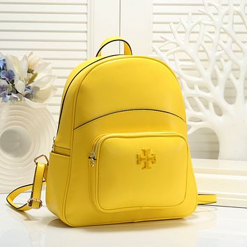 TORY BURCH Woman Leather Travel Bookbag Shoulder Bag Backpack yellow