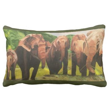 Elephant family lumbar cushion