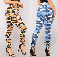 Womens Camo Trousers Casual Pants Military Army Elastic waistt Camouflage Pants
