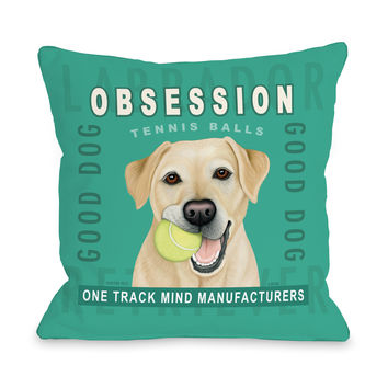Obsession Yel Teal Multi throw pillow by Retro Pets