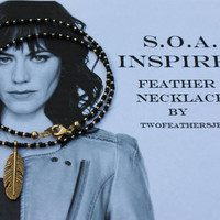 SOA Inspired Feather Necklace - Black And Gold - Sons Of Anarchy Inspired Necklace