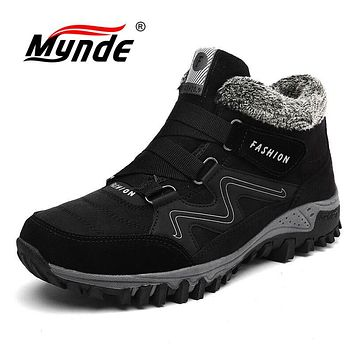 Mynde Brand Men Suede Working Fur Warm Ankle Boots Leather Men's boots Men Winter Waterproof Men Snow Boots Big Size 39-46