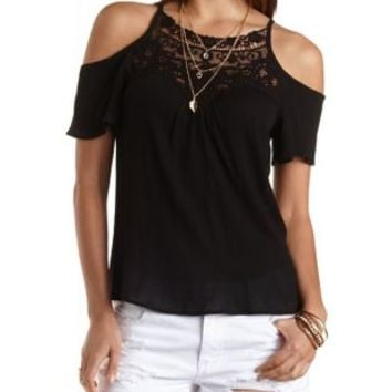 Black Crochet-Bib Cold Shoulder Swing Top by Charlotte Russe
