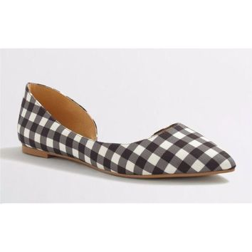 J.Crew Classic D'orsay Flats In Gingham Seafoam Multi Sandals Size 6,7