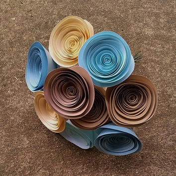 Paper Flower Bouquet - Baby Blue, Ivory, Sand, Tan - Large Handmade Rolled Paper Flower Bouquet for Brides, Fall Weddings, Autumn