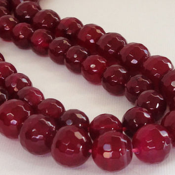 Red Pomegranate Faceted Round Agate Beads, 10mm,   Natural Gemstone Beads For Jewelry Making