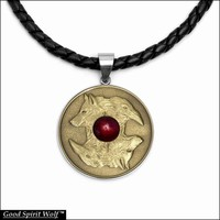 Wolf and Raven Antique Gold Finish Coin In Stainless Steel Setting on Nappa Leather Cord Necklace