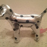 "Victoria's Secret Silver Polka Dot 7"" Plush Dog"