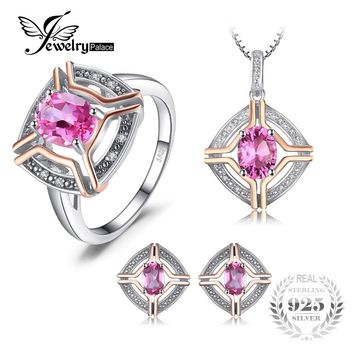 JewelryPalace Vintage 4ct Oval Pink Topaz Ring Pendant Necklaces Stud Earrings Plated Rose Gold Jewelry Sets 925 Sterling Silver