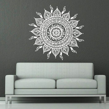 Wall Decal Vinyl Sticker Decals Art Home Decor Mural Mandala Ornament Indian Geometric Moroccan Pattern Yoga Namaste Lotus Flower Om AN700