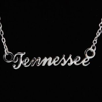 Tennessee Volunteers Silver Script Necklace