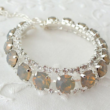 Gray opal bracelet, Bridal bracelet, Tennis bracelet, Silver bracelet, Swarovski crystals bracelet, Mother of bride, Mother of groom gift