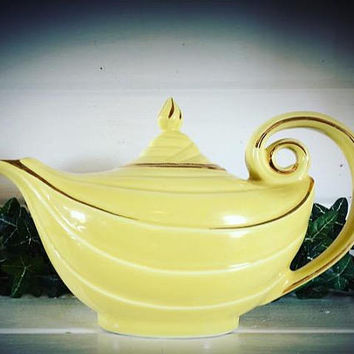 Hall Teapot, Hall Aladdin, Aladdin Teapot, Yellow Hall, Hall Yellow Teapot, Vintage Hall, Yellow Hall Teapot, Aladdin, Hall, Hall pottery
