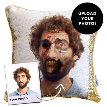 Zombie Pillow: *Your* Zombie Face Printed on a Trick Sequin Pillow | COVER ONLY (Inserts Sold Separately)