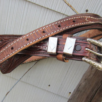 Vintage Tooled Western Leather Belt by Tex Tan, 100-108 cm / 39-42 in // Brown Cowboy Belt