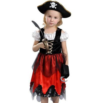 DCCKH6B Awesome Fierce Pirate Lass Girls Halloween Costume Child Swashbucklin Buccaneer Outfit
