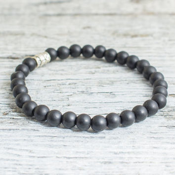 Matte black onyx beaded stretchy bracelet, mens bracelet, womens bracelet