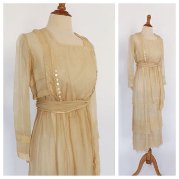 Vintage 1900's Edwardian Dress Antique 1910 Wedding Gown Kaufman & Baer Garden Lawn Dress Cream Silk Gown Size Small XS Vintage 1920s Bridal