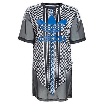"""Adidas""Fashion Chiffon Perspective Print Pattern Scoop Neck Short Sleeve T-Shirt Dress"