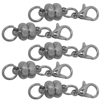 Evelots 5 Piece Circular Rhodium Plated Magnetic Clasps, Stylish Vintage Look