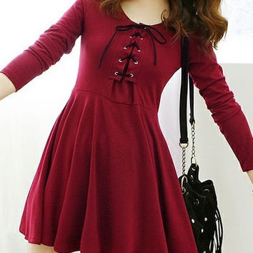 Wine Red Cotton Women Fashion Round Neck Korean Style Short Length Casual Slim Dress One Size FZ73539-26wr = 1958511556