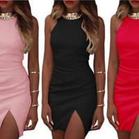 Summer Beach Holiday Sexy Round Necked Sleeveless Solid Split Erotic Casual Party Playsuit Clubwear Bodycon Boho Dress 03- 107