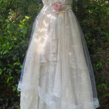 Cream wedding dress antique  lace  tulle rose  romantic medium by vintage opulence on Etsy
