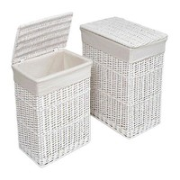 Wicker Rectangle Laundry Basket, 2 Piece, White