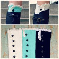 Huffington Button Down Lace Leg Warmers