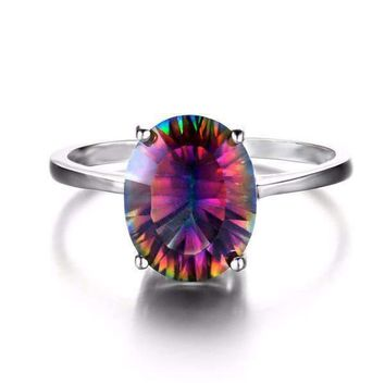 ON SALE - Genuine Rainbow Fire Mystic Topaz Oval Cut 3.4CT IOBI Precious Gems Ring