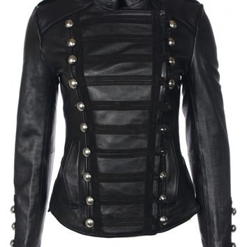 Napoleon Oil Black Womens Leather Military Jacket - Boda Skins