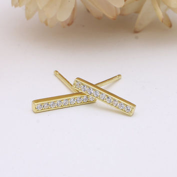 925 sterling silver gold vermeil plated bar stud earrings with pave cubic zirconia cz