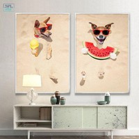 SPLSPL Unframed Modern Wall Art Picture Beach Summer Scenery Dog Eat Watermelon Canvas Print Home Decor Painting and Poster