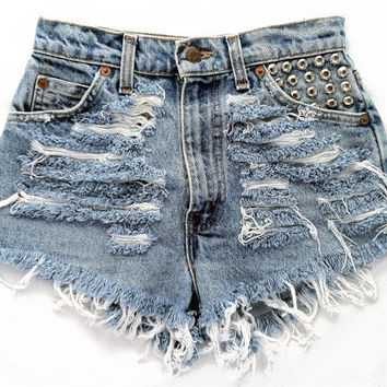 Orion short studded cut off shorts by Omeneye on Etsy