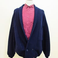 Vintage 80s Double Breasted Navy Blue Blazer Jacket Jumper Cardigan XXL