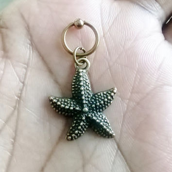 Vintage bronze starfish, gold plated captive ring Helix, cartilage,earring