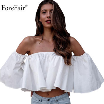 ForeFair trendy white ruffles off shoulder crop tops cotton flare sleeve girls sexy tops plus size loose-fit women shirt blouse