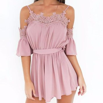 Claire Pink Lace Detailed Romper