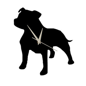 large wall clock, Shatterproof black or mirror clock, livingroom wall decal, pitbull dog wall clock decorative wall clock, animal wall clock