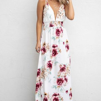 Real Excitement Off White Floral Print Maxi