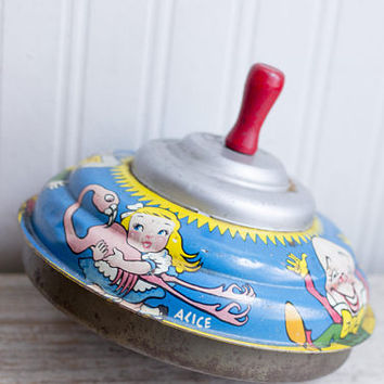 Vintage Metal Top, 1970's Alice in Wonderland with White Rabbit , Mad Hatter and Humpty Dumpty, Retro Spinning Toy