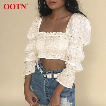 OOTN Puff Long Sleeve White Tunic Blouse Women Eyelet Embroidery Crop Tops Shirts Female Summer Chemise Square Neck Elastic Sexy