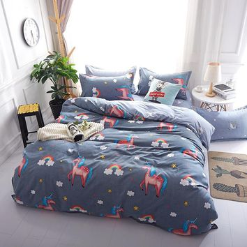 Unicorn Bedding Set  Boys Bed Linen Brief Bed Clothes Cartoon Comforter Duvet Cover King Queen Twin Bed Bedding Sets for Teens