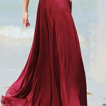 Red Plain Draped Wavy Edge Pleated Elastic Waist Floor Length Bohemian Chiffon Flowy Maxi Skirt