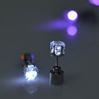 Cool LED Light Up Earrings Studs (2 PCS) for Women Men Fashion Party Accessories Best Gift + Beautiful Gift Box