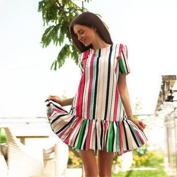 Print Summer Hot Sale Stripes Dress One Piece Dress [256933527578]